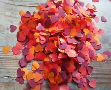 BURGUNDY,ORANGE , RED HEARTS CONFETTI WEDDING AUTUMN/THROWING/ECO 2 HANDFULS