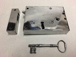 Original Georgian Antique Steel Brass Door Rim Lock Box Key Furniture (AQ014)