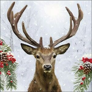 4 individual Christmas stag decoupage napkins, scrapbooking, mixed media, craft