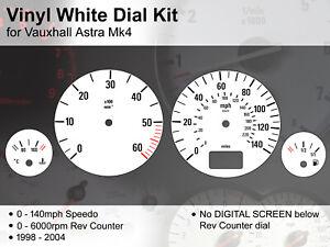 Vauxhall Astra Mk4 (1998 - 2004) - 140mph / 6000rpm NDS - Vinyl White Dial Kit