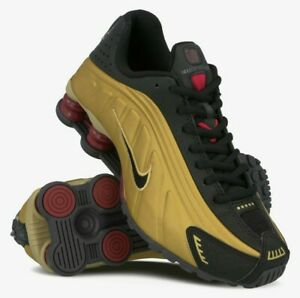 New Ladies Girls Boys Nike Shox R4 Metallic Gold Black Trainers UK Size 5, EU 38