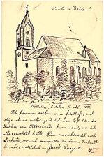 """1892, AK (Vorläufer), 5 Pfg. GS, rücks. Handzeichnung """"Kirche in Dahlen"""", UNIKAT"""