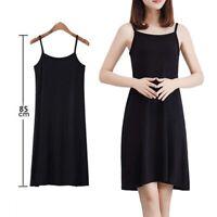 Women Solid Color Dress Camisole Spaghetti Strap Long Tank Top Slip Mini Dr Pz