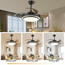 """Black 42"""" Invisible Ceiling Fans with 3-Color Led Light Fan Chandelier+remote"""