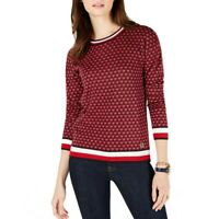 TOMMY HILFIGER NEW Women's Red Multi Metallic Striped Hem Sweater Top XXL TEDO
