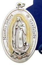 MRT Our Lady Of Guadalupe Mary Pendant Medal Silver Tone Metal w Gift Bag Italy