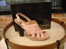 B Makowsky Nicole Blush Pink Leather Block High Heel Sandals 10 NEW