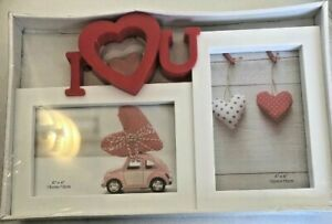 Red & White I Heart U Double Picture Frame-Valentines Day Great Gift BNIB GLOBAL