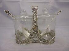 wunderschönes Konfitüren Set Albo Silber 835 & Glas punziert