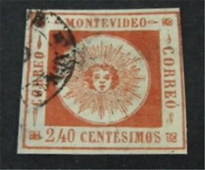 nystamps Uruguay Stamp # 12 Used $90 Signed   L23y1254