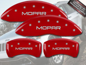 "2015-2017 Jeep Renegade Front + Rear Red MGP Brake Disc Caliper Covers ""Mopar"""