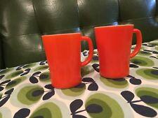 Retro Orange Milk Glass Cups