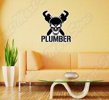"""Plumber Worker Skull Helmet Hard Hat Wall Sticker Room Interior Decor 22""""X22"""""""