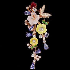 925er Silber Anhänger Roségold beschichtet Tansanit & Rubin Perlmutter Blumen