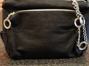 Stylish Designer Cotton Canvas Black Clutch Bag with Wrist Strap & Zipper