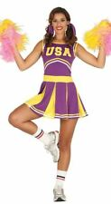 Womens Purple USA American High School Cheerleader Fancy Dress Costume Outfit