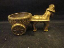 "Brass Burro Pulling Cart Vintage 3 1/2"" Long"