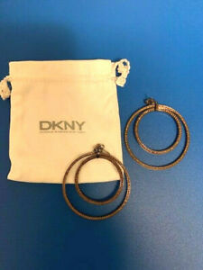 Neu DKNY Donna Karan New York Ohrringe,Braun Edelstahl,Durchmesser 5cm NP 99,90€