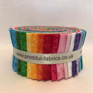 45 Piece Jelly rolls, Polka Dots, Plains & Flutter 100% Cotton Fabric Rolls