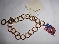 USA Fourth Of July American Flag Charm Bracelet Gold Metal