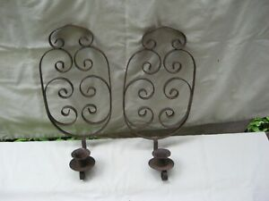 """Vintage Pair of Black Wrought Iron Candle Holder Wall Sconces / 12"""""""