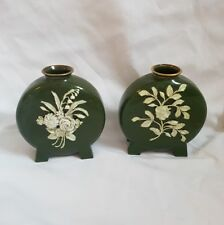 ❀ڿڰۣ❀ Pair of VICTORIAN Green FLORAL China FOOTED FLASK Style FLOWER VASES ❀ڿڰۣ❀
