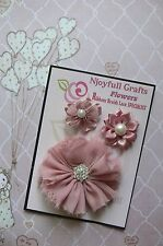 HANDMADE 3 Flower Mix SALMON PINK Organza Satin 35 & 70mm NjoyfullCrafts