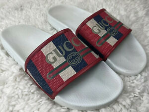 Gucci Men's Red Logo Sylvie Slide Sandals Size 46..US Size 12 Gucci Slides