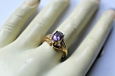 10K YELLOW GOLD 6 X 8MM AMETHYST W/ACCENT STONE  RING SIZE 7, 3.2GRAMS