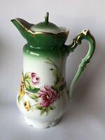Antique Three Crown China Green White Wild Roses Unger Schilde Chocolate Pot