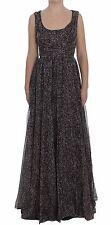 NWT DOLCE & GABBANA Dress Dark Silk Shift Gown Full Length IT40 / US6 /S
