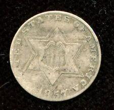 1857 USA 3 Cent Silver Coin