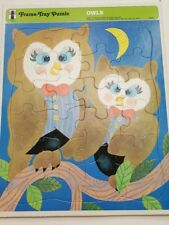 Vintage Owl Frame Tray Puzzle 1971 the Rainbow Works #75903-1