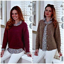 Easy Knit Knitting Pattern Ragazze Manica Lunga Maglione & Cardigan DK King Cole 4684