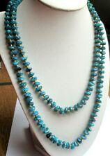 collier 2 rangs de perles en résine turquoise fermoir doré bijou vintage 5241