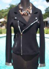 Cache Offset Front Zipper Top Jacket New XS/S/M Zipper Pocket Embellished $178