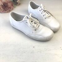 KEDS White Leather Lace Up Sneakers Bowling Tennis Shoes Size 8.5 WH18679M U