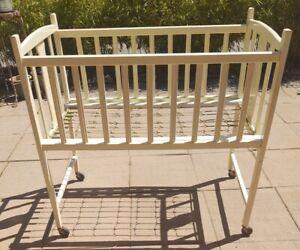 Antique Large White Wood Baby Doll Crib Original Metal Iorn Base Wheels