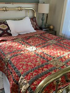 Vintage Fall Harvest Cottage Gold Red Green Floral Patchwork Queen Size Quilt