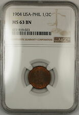 1904 USA-Philippines 1/2 Centavo Coin NGC MS-63 BN Brown