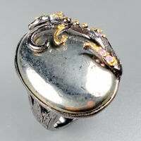 Vintage Natural Pyrite 925 Sterling Silver Ring Size 7.25/R121776