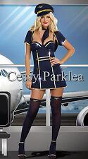 Ladies Pilot Air Hostess Flight Attendant Fancy Dress Costume Outfit + Hat