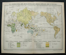 1893.Mappa Geo-Topografica AUMENTO RAZZE UMANE NEL MONDO DOPO F.MULLER O.PESCHEL