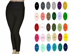 Women Cotton Spandex Yoga High Waist Tummy Control leggings S-5X 30 Colors USA