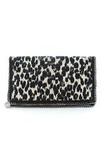 Stella McCartney Falabella ANIMAL-PRINT FOLD-Over Clutch/Nero, Crema