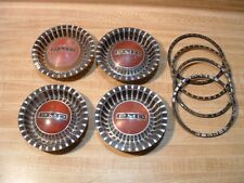 """SET OF 4 1965-72 PONTIAC 14"""" WIRE SPOKE HUBCAP PMD CENTER CAPS WITH GASKETS"""
