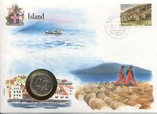 superbe enveloppe ISLANDE ICELAND pièce monnaie 5 KRONUR 1984 NEUF UNC NEW