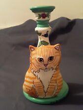 New listing Cats By Nina Candlestick With Orange Tabby Cat, Nina Lyman, Ceramic