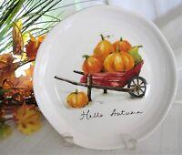 "4x Pier 1 Hello Autumn Pumpkins Gourds Salad Plates Lunch Dessert Ironstone 9"""