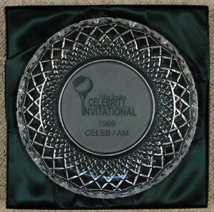 Galway crystal plate in box signed by Jeff Foxworthy, John Smoltz, Gorman Thomas